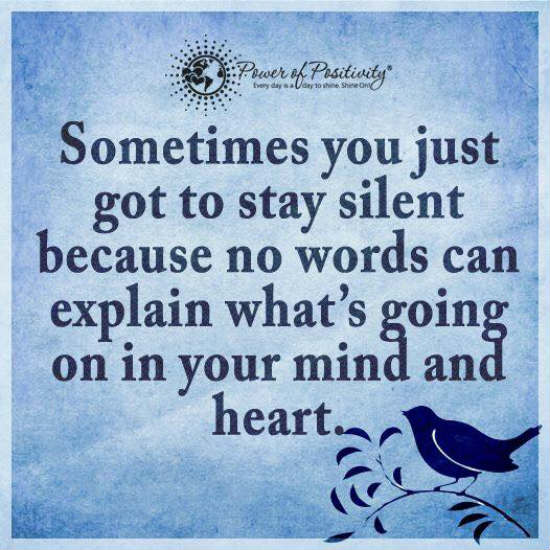 Image result for sometimes you just have to stay silent because no words